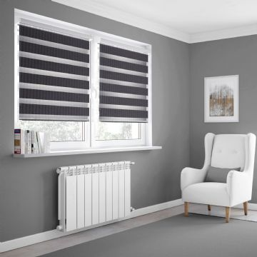 Navy Day and Night Made to measure Roller Blinds in Dark Shadow